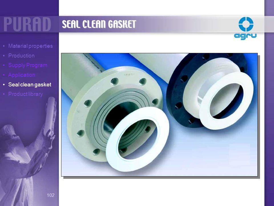 SEAL CLEAN GASKET Material properties Production Supply Program Application Seal clean gasket Product library 102