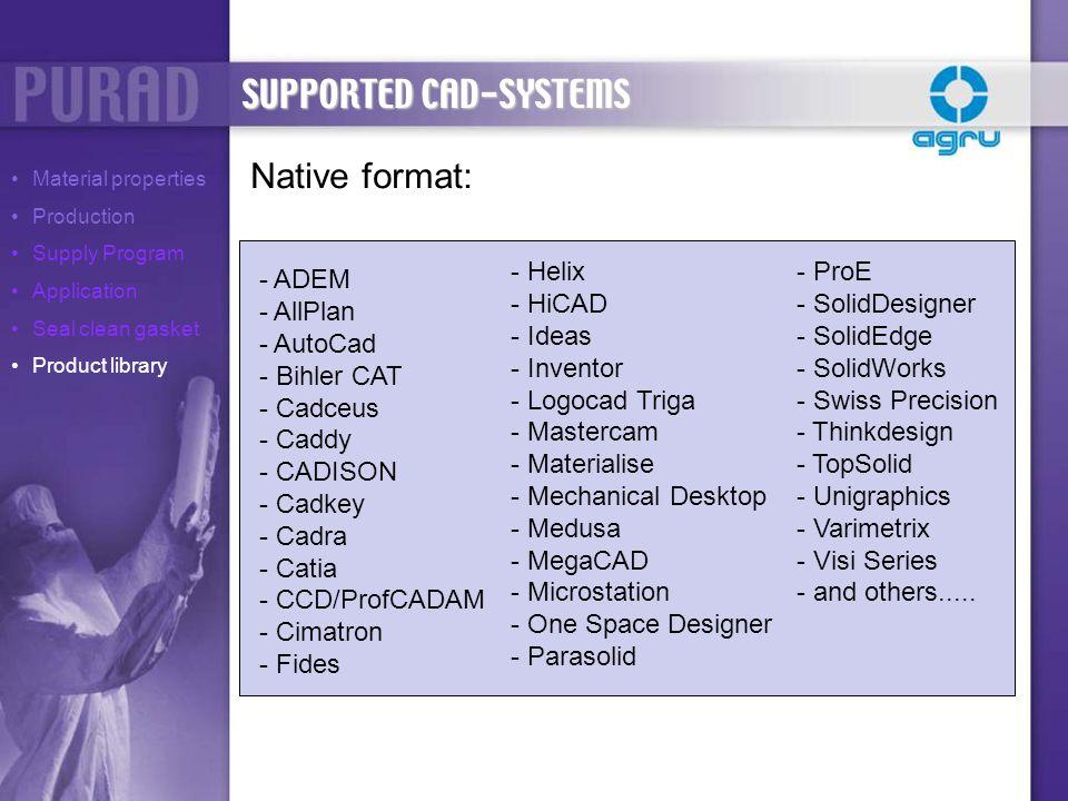 Native format: - ADEM - AllPlan - AutoCad - Bihler CAT - Cadceus - Caddy - CADISON - Cadkey - Cadra - Catia - CCD/ProfCADAM - Cimatron - Fides - Helix