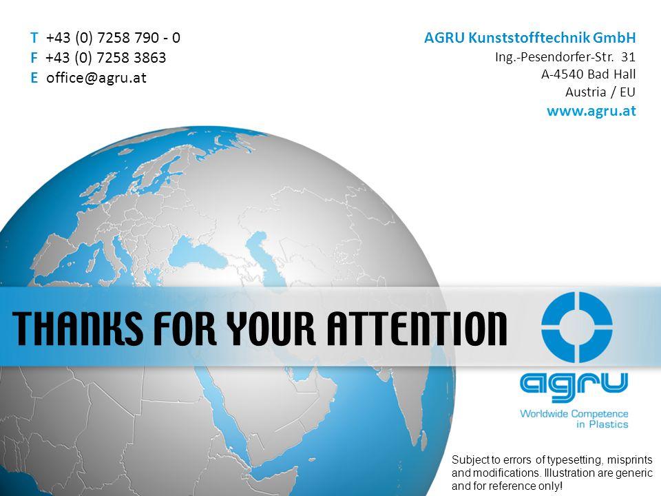 AGRU Kunststofftechnik GmbH Ing.-Pesendorfer-Str. 31 A-4540 Bad Hall Austria / EU www.agru.at T +43 (0) 7258 790 - 0 F +43 (0) 7258 3863 E office@agru