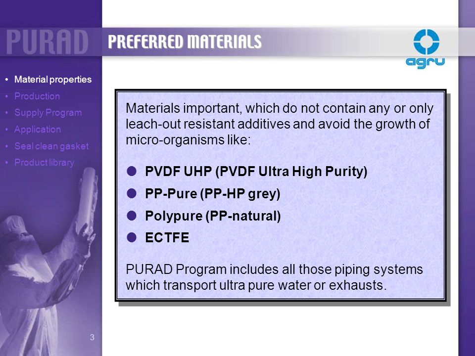 Materials important, which do not contain any or only leach-out resistant additives and avoid the growth of micro-organisms like: PVDF UHP (PVDF Ultra