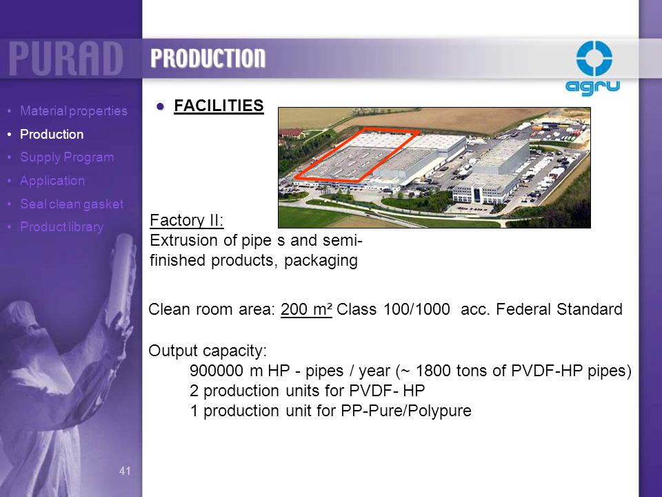 Clean room area: 200 m² Class 100/1000 acc. Federal Standard Output capacity: 900000 m HP - pipes / year (~ 1800 tons of PVDF-HP pipes) 2 production u