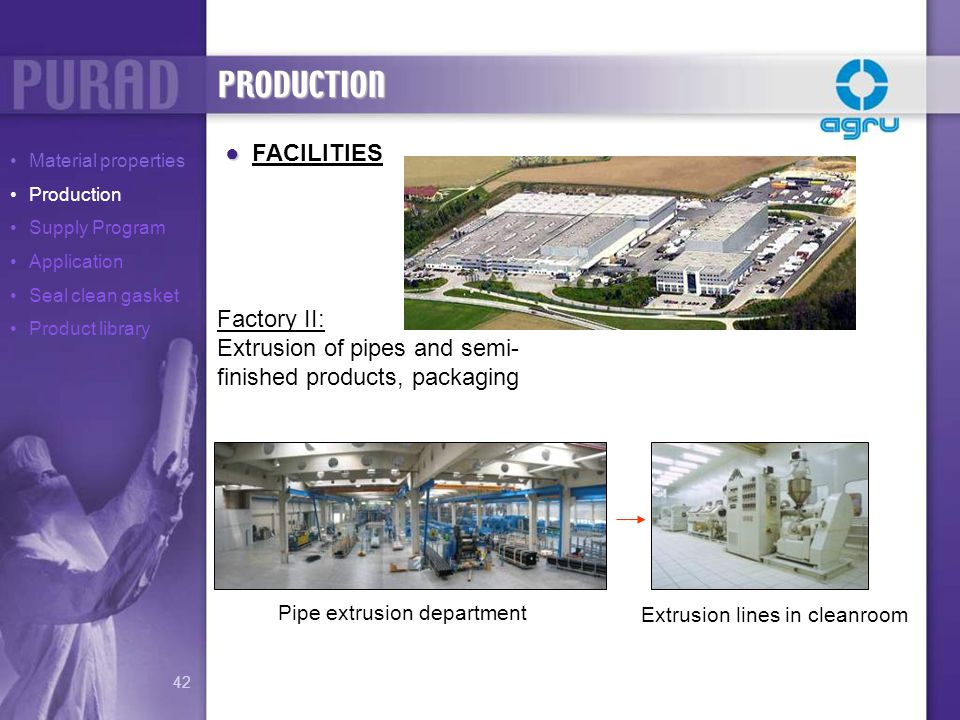 Extrusion lines in cleanroom Pipe extrusion department PRODUCTION FACILITIES Factory II: Extrusion of pipes and semi- finished products, packaging Mat
