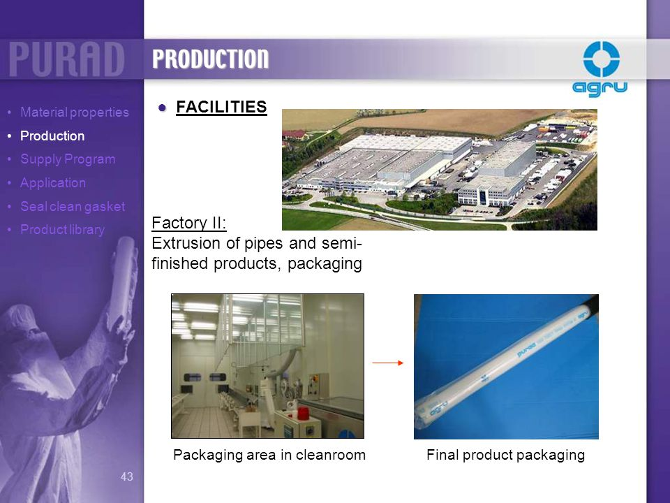 Final product packagingPackaging area in cleanroom FACILITIES Factory II: Extrusion of pipes and semi- finished products, packaging PRODUCTION Materia