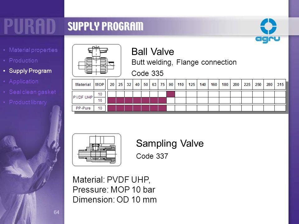 Ball Valve Butt welding, Flange connection Code 335 Sampling Valve Code 337 Material: PVDF UHP, Pressure: MOP 10 bar Dimension: OD 10 mm SUPPLY PROGRA