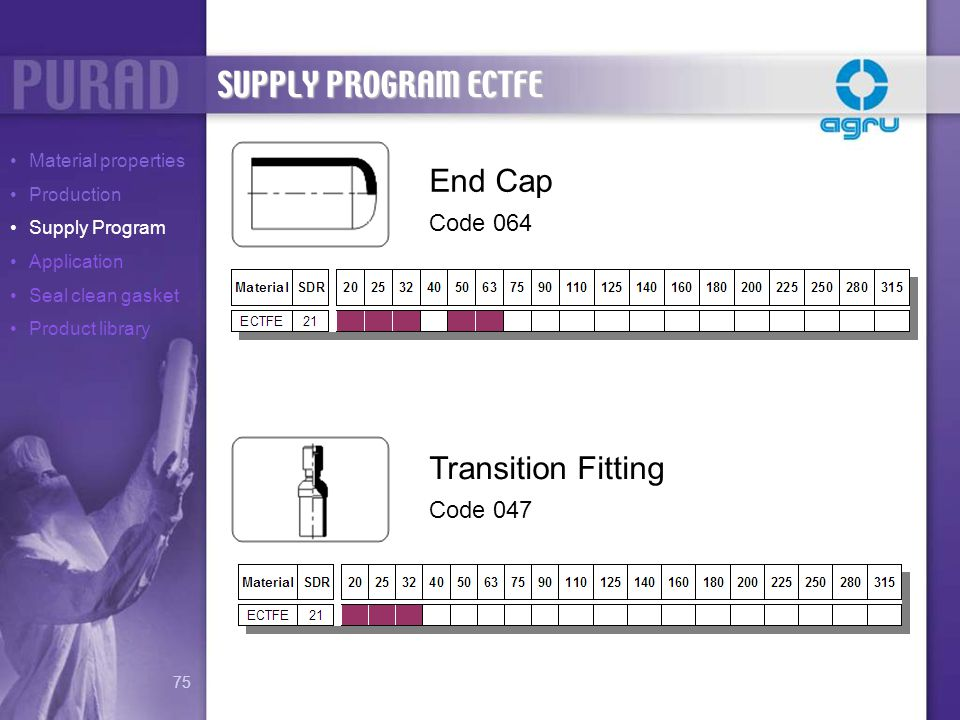 SUPPLY PROGRAM ECTFE End Cap Code 064 Transition Fitting Code 047 Material properties Production Supply Program Application Seal clean gasket Product