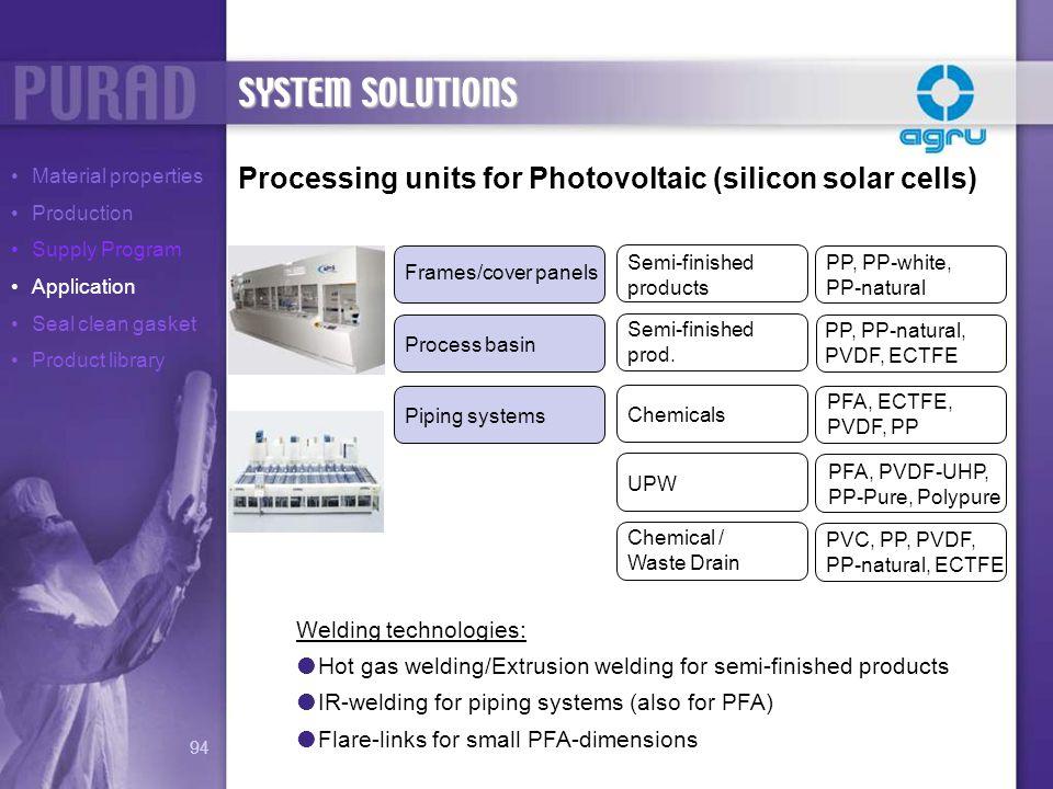 Processing units for Photovoltaic (silicon solar cells) PP, PP-white, PP-natural PP, PP-natural, PVDF, ECTFE PFA, ECTFE, PVDF, PP PFA, PVDF-UHP, PP-Pu