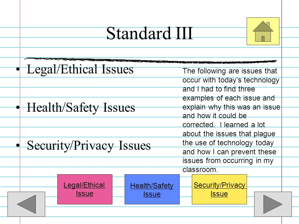 Standard III Legal, Social, and Ethical IssuesLegal, Social, and Ethical Issues –Candidate will demonstrate an understanding of the legal, social, and
