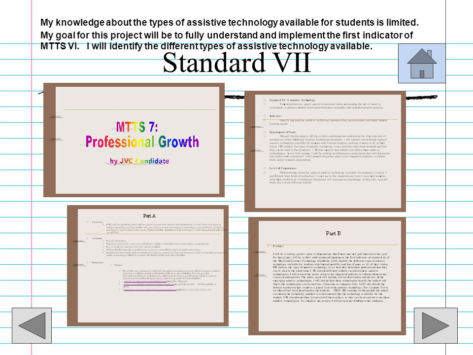 Standard VII Professional Growth –Candidate will develop that supports continual learning and professional growth in technology. –Candidate will devel