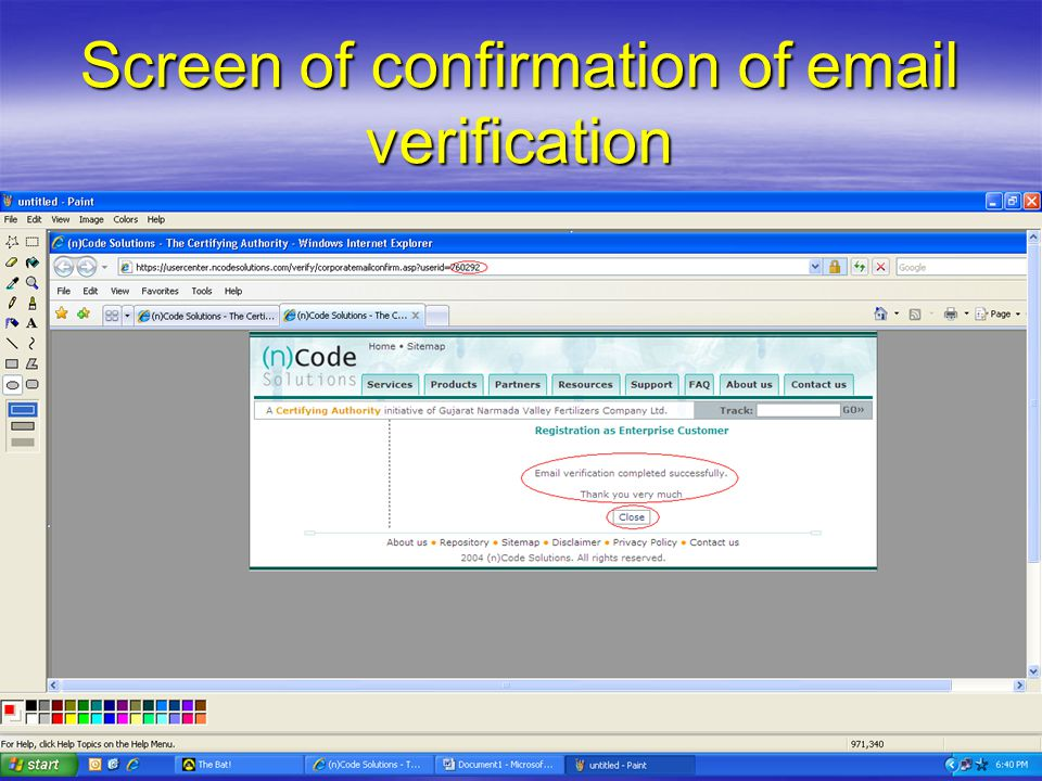 Screen of confirmation of email verification
