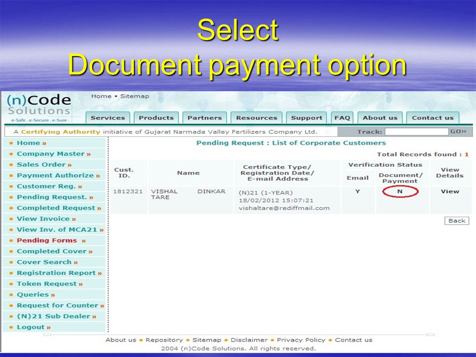 Select Document payment option