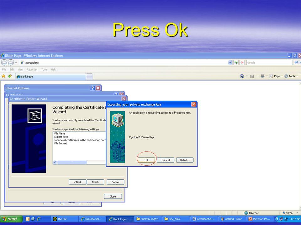 Press Ok
