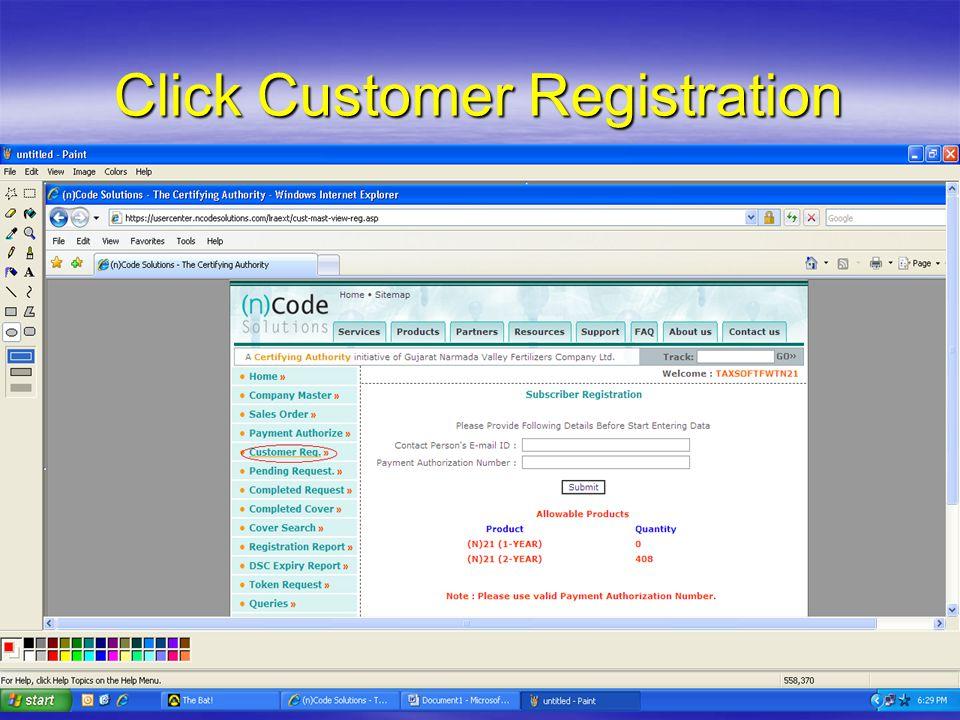 Click Customer Registration