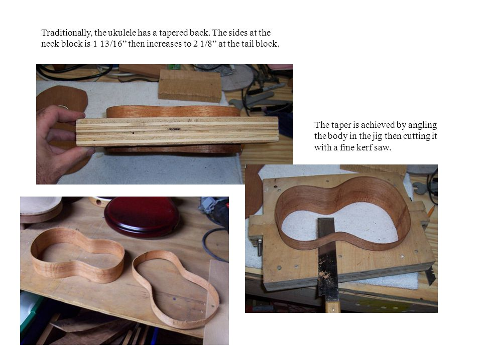 Traditionally, the ukulele has a tapered back.