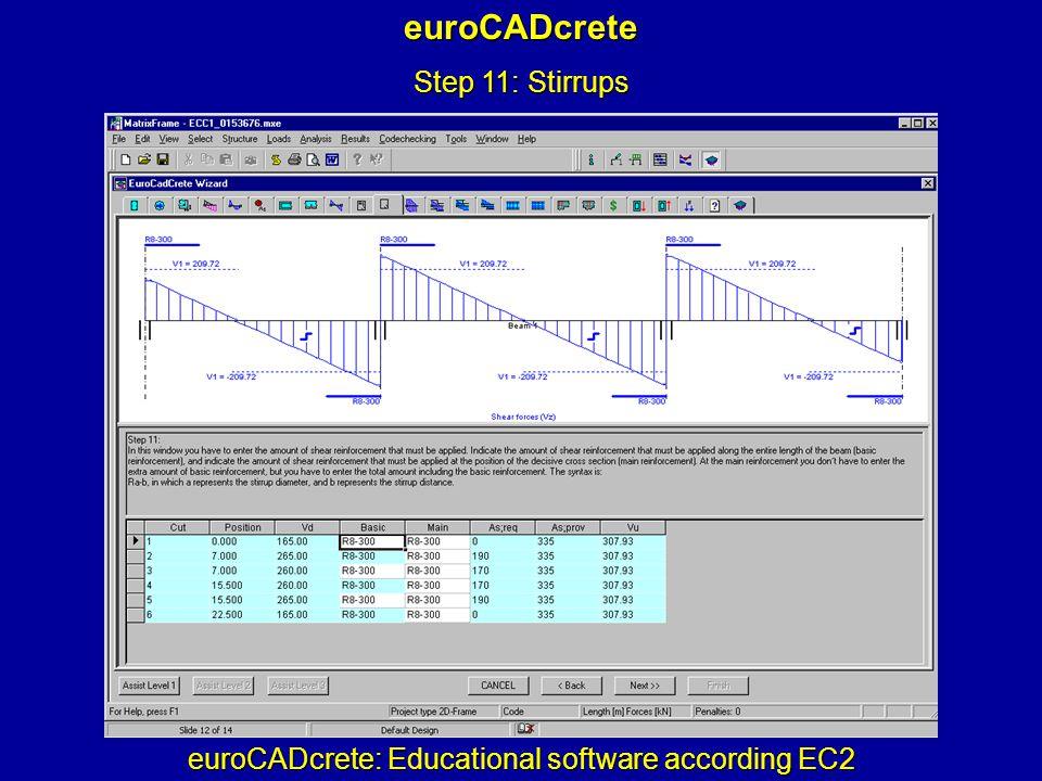 euroCADcrete: Educational software according EC2 euroCADcrete Step 11: Stirrups