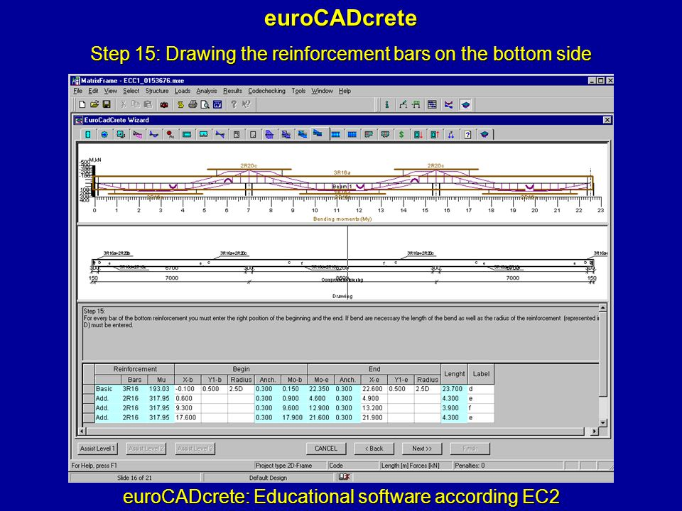 euroCADcrete: Educational software according EC2 euroCADcrete Step 15: Drawing the reinforcement bars on the bottom side