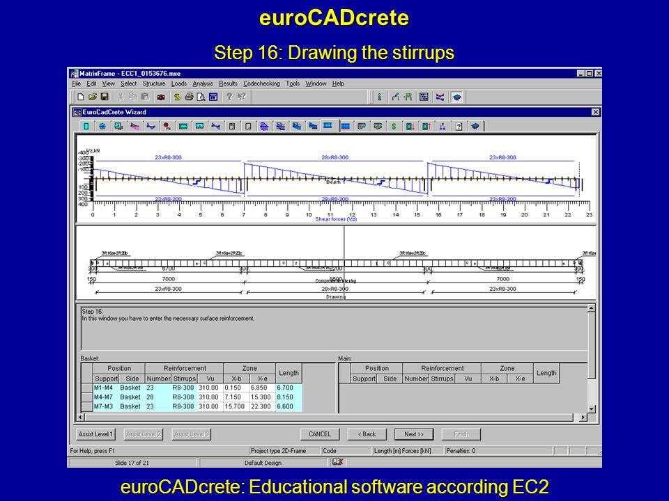 euroCADcrete: Educational software according EC2 euroCADcrete Step 16: Drawing the stirrups