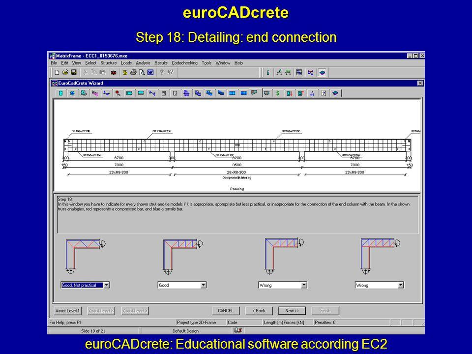 euroCADcrete: Educational software according EC2 euroCADcrete Step 18: Detailing: end connection