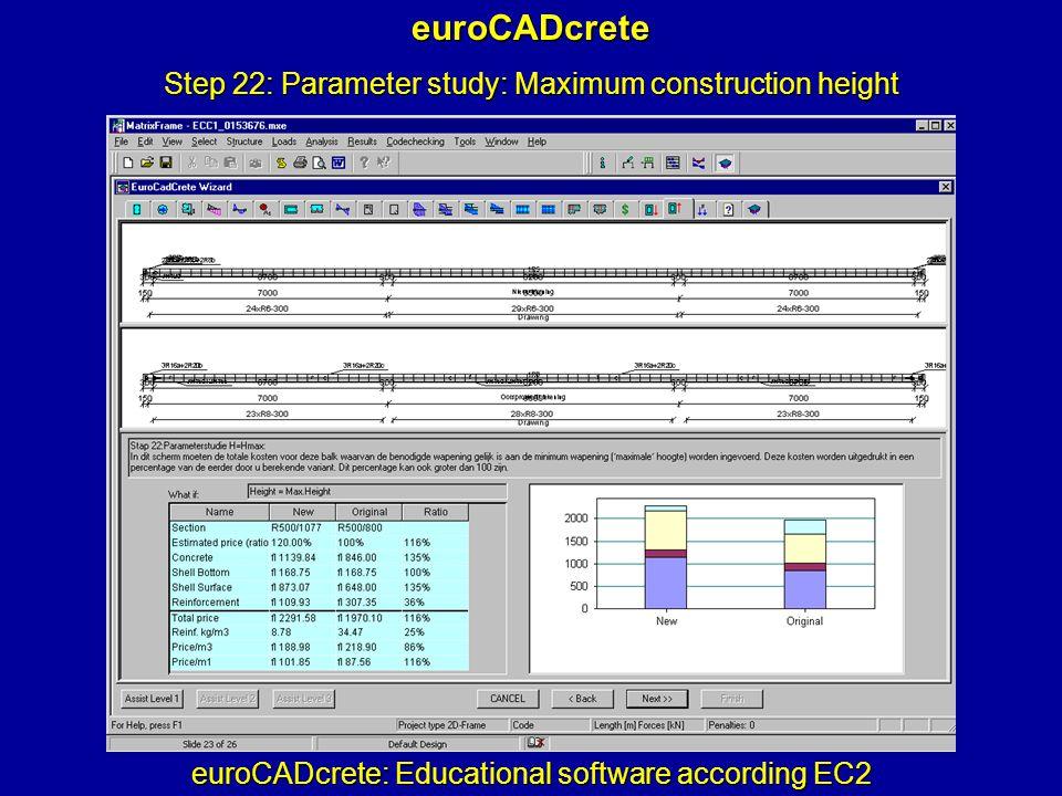 euroCADcrete: Educational software according EC2 euroCADcrete Step 22: Parameter study: Maximum construction height