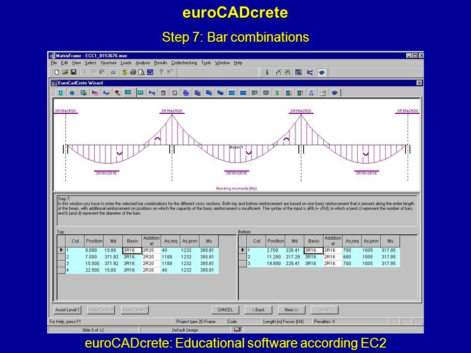 euroCADcrete: Educational software according EC2 euroCADcrete Step 7: Bar combinations