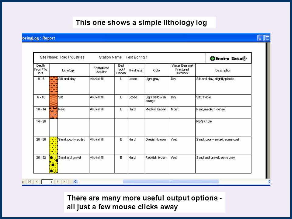 Reports This one shows a simple lithology log There are many more useful output options - all just a few mouse clicks away