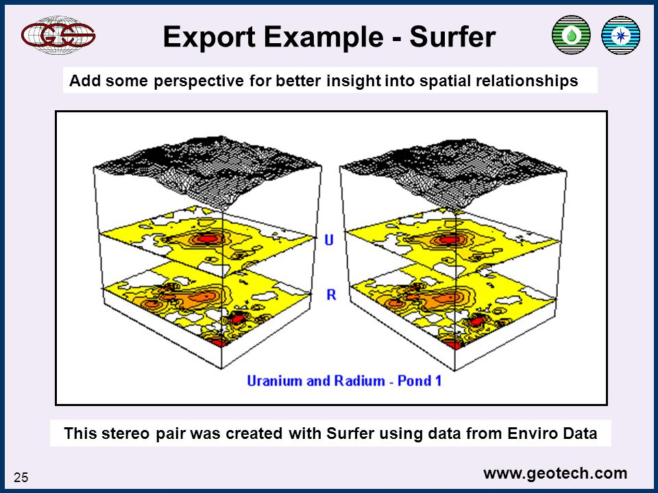www.geotech.com 25 Export Example - Surfer Add some perspective for better insight into spatial relationships This stereo pair was created with Surfer using data from Enviro Data