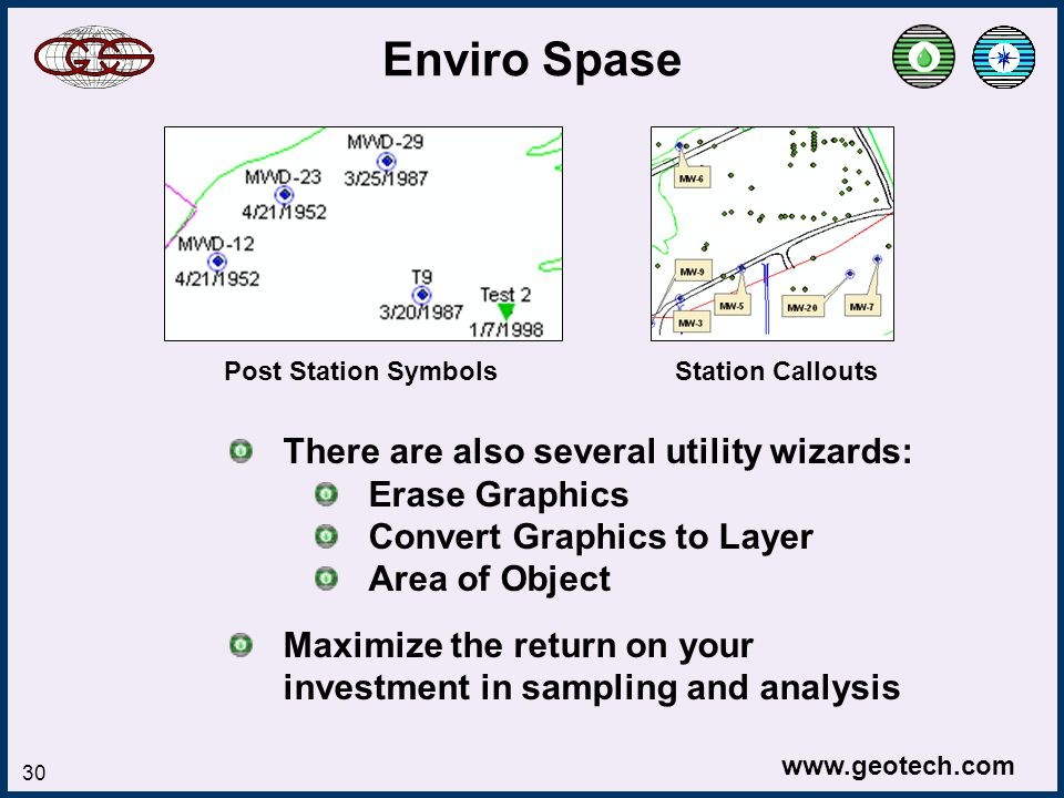 www.geotech.com 30 Enviro Spase Post Station Symbols Station Callouts There are also several utility wizards: Erase Graphics Convert Graphics to Layer Area of Object Maximize the return on your investment in sampling and analysis
