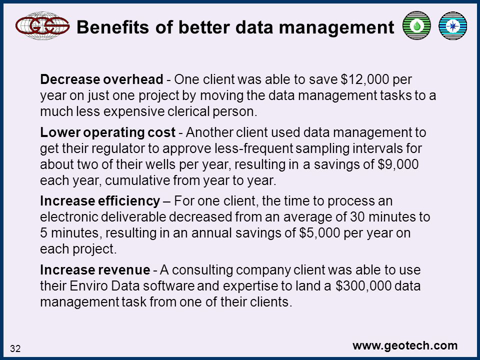 www.geotech.com 32 Decrease overhead - One client was able to save $12,000 per year on just one project by moving the data management tasks to a much