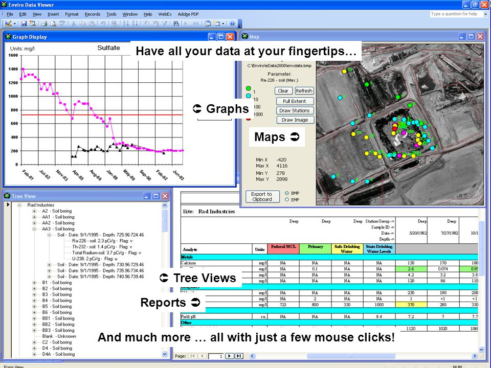 www.geotech.com 8 Introduction www.geotech.com Have all your data at your fingertips… Graphs Maps Tree Views Reports And much more … all with just a f