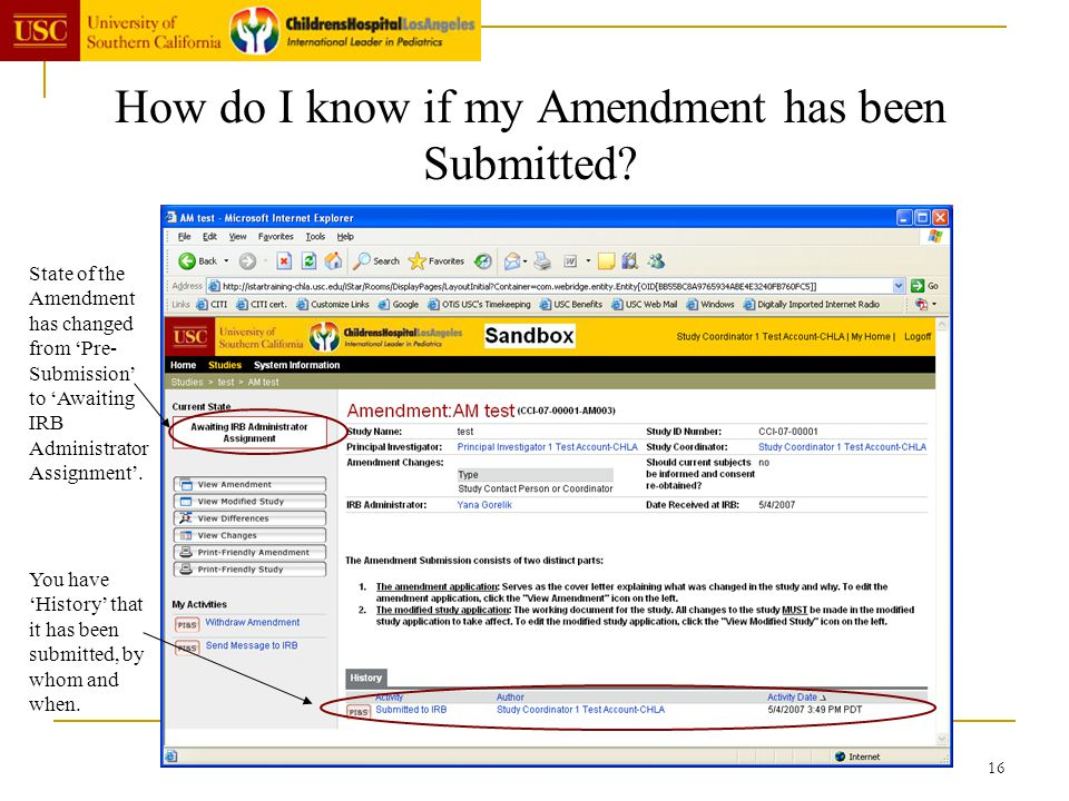 16 How do I know if my Amendment has been Submitted? State of the Amendment has changed from Pre- Submission to Awaiting IRB Administrator Assignment.