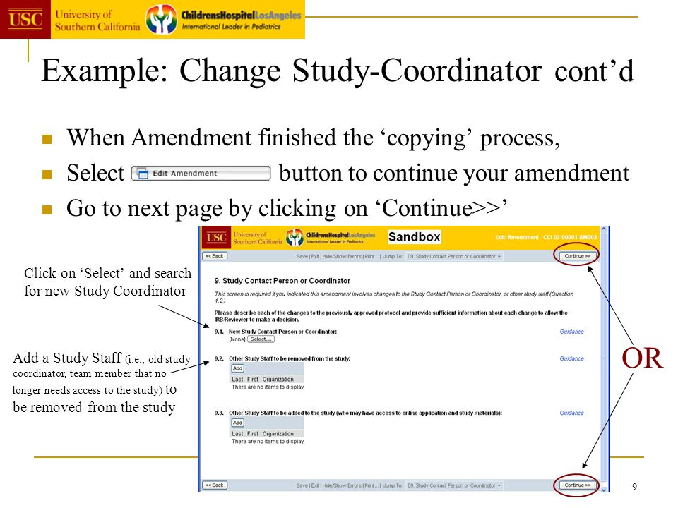9 Example: Change Study-Coordinator contd When Amendment finished the copying process, Select button to continue your amendment Go to next page by cli