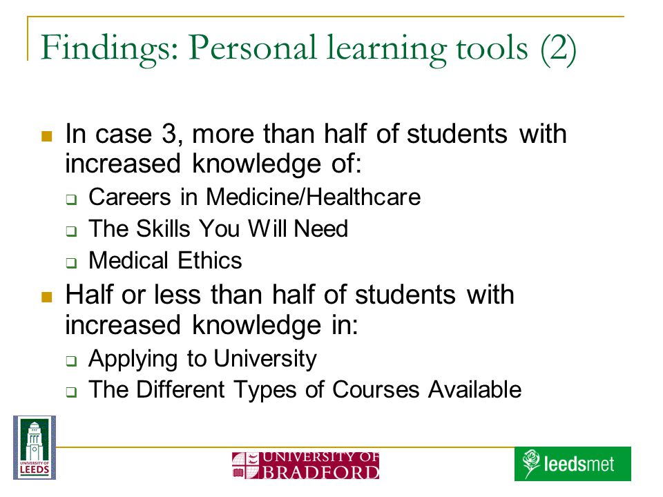 Findings: Personal learning tools (2) In case 3, more than half of students with increased knowledge of: Careers in Medicine/Healthcare The Skills You Will Need Medical Ethics Half or less than half of students with increased knowledge in: Applying to University The Different Types of Courses Available