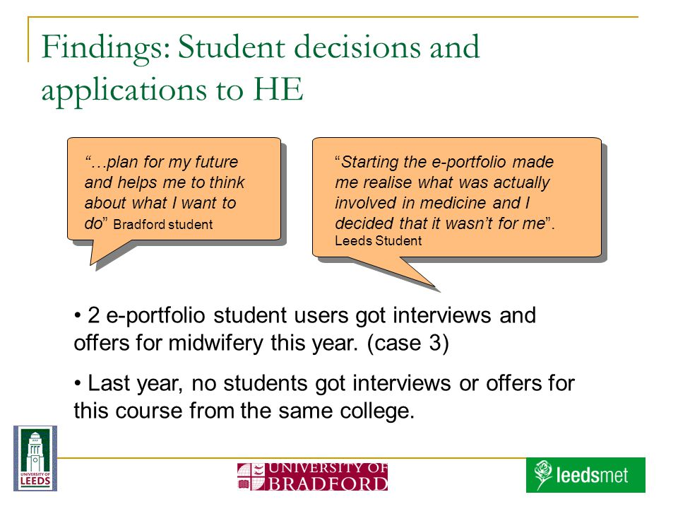 Findings: Student decisions and applications to HE …plan for my future and helps me to think about what I want to do Bradford student Starting the e-portfolio made me realise what was actually involved in medicine and I decided that it wasnt for me.