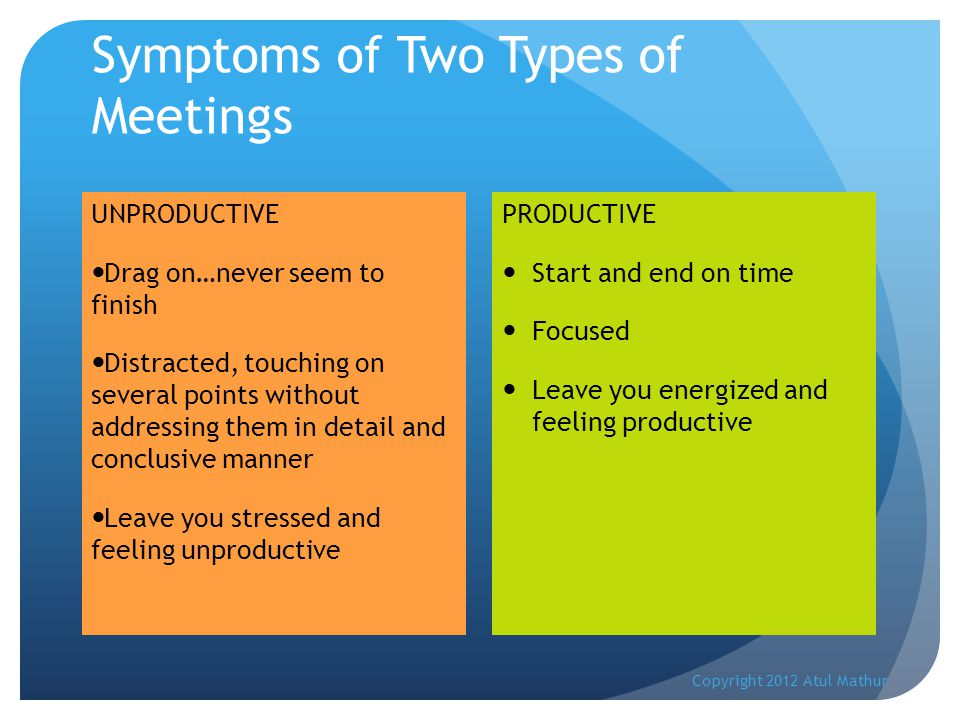 Symptoms of Two Types of Meetings UNPRODUCTIVE Drag on…never seem to finish Distracted, touching on several points without addressing them in detail and conclusive manner Leave you stressed and feeling unproductive PRODUCTIVE Start and end on time Focused Leave you energized and feeling productive Copyright 2012 Atul Mathur