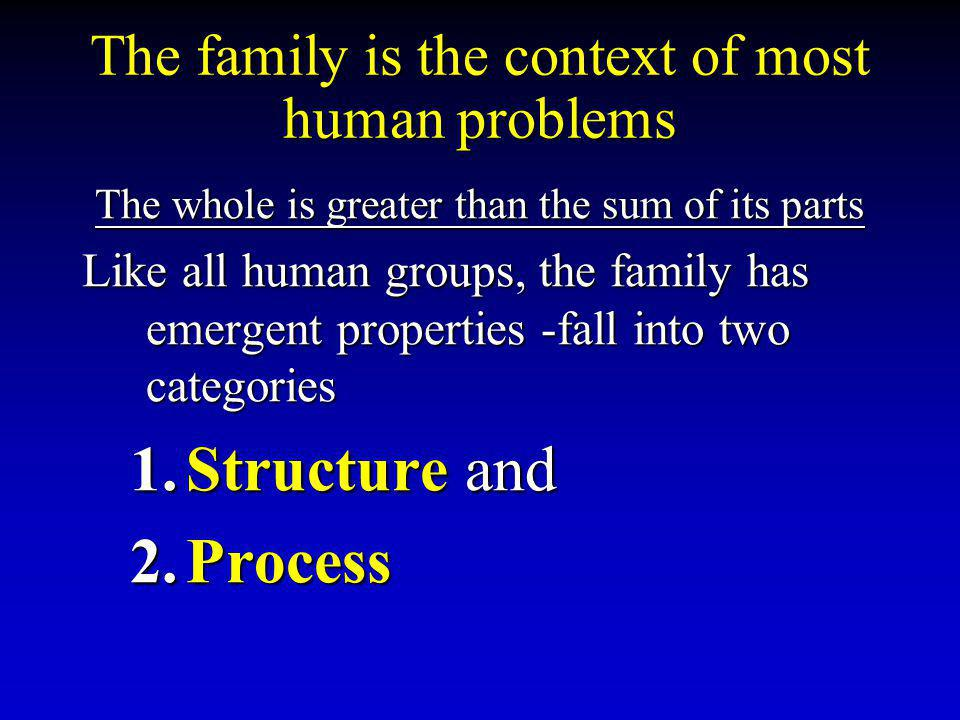 The family is the context of most human problems The whole is greater than the sum of its parts Like all human groups, the family has emergent properties -fall into two categories 1.Structure and 2.Process