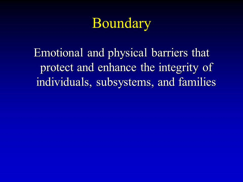 Boundary Emotional and physical barriers that protect and enhance the integrity of individuals, subsystems, and families