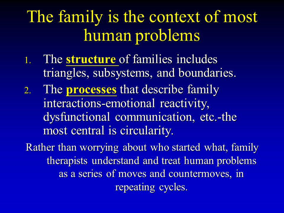 The family is the context of most human problems 1.