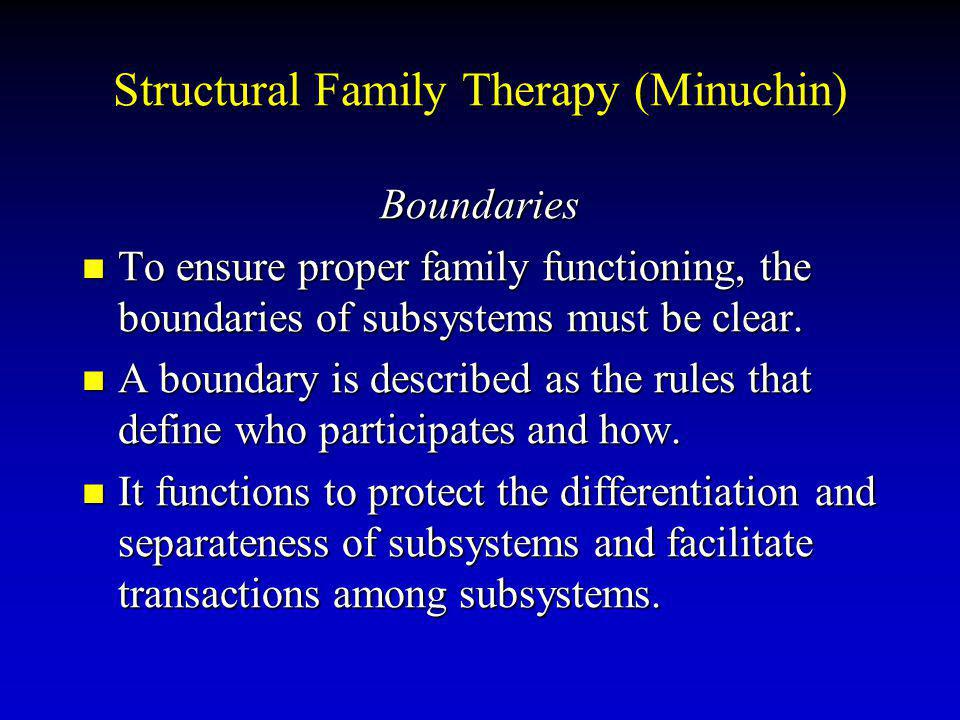 Structural Family Therapy (Minuchin) Boundaries To ensure proper family functioning, the boundaries of subsystems must be clear.