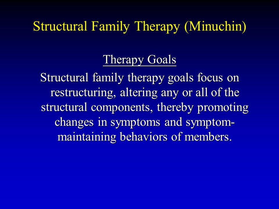 Structural Family Therapy (Minuchin) Therapy Goals Structural family therapy goals focus on restructuring, altering any or all of the structural components, thereby promoting changes in symptoms and symptom- maintaining behaviors of members.