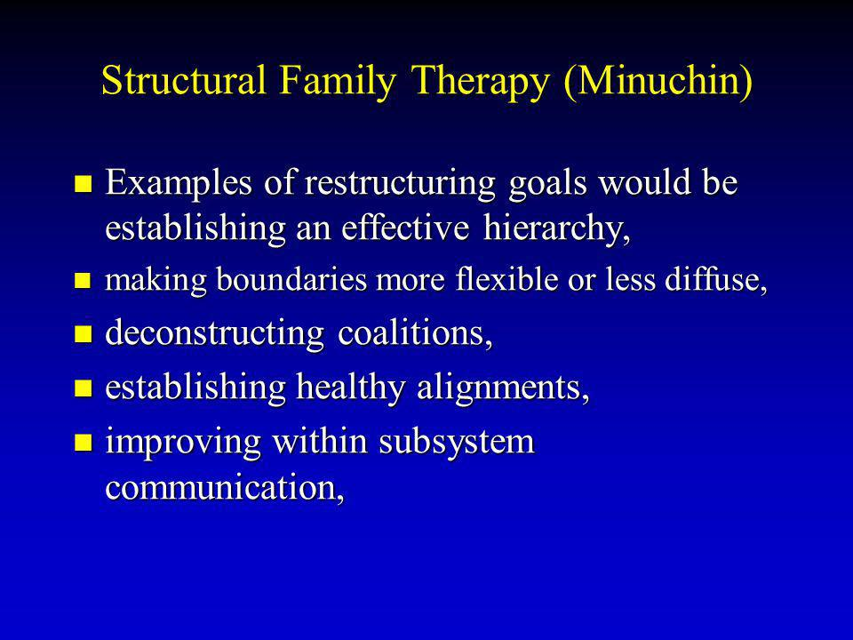 Structural Family Therapy (Minuchin) Examples of restructuring goals would be establishing an effective hierarchy, Examples of restructuring goals would be establishing an effective hierarchy, making boundaries more flexible or less diffuse, making boundaries more flexible or less diffuse, deconstructing coalitions, deconstructing coalitions, establishing healthy alignments, establishing healthy alignments, improving within subsystem communication, improving within subsystem communication,