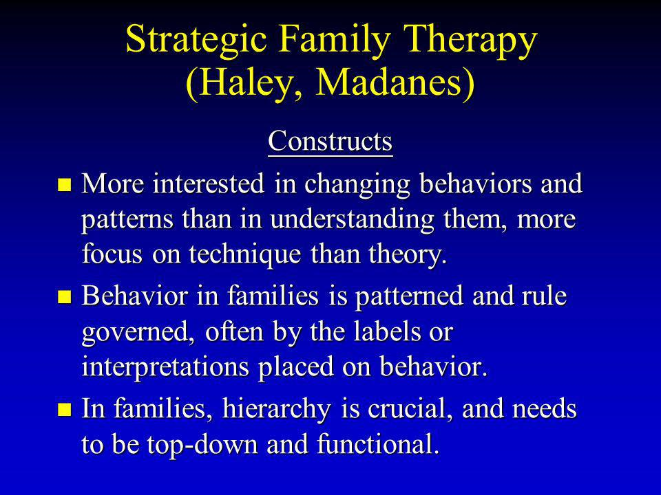 Strategic Family Therapy (Haley, Madanes) Constructs More interested in changing behaviors and patterns than in understanding them, more focus on technique than theory.