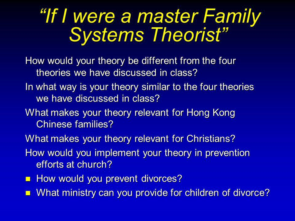 How would your theory be different from the four theories we have discussed in class.