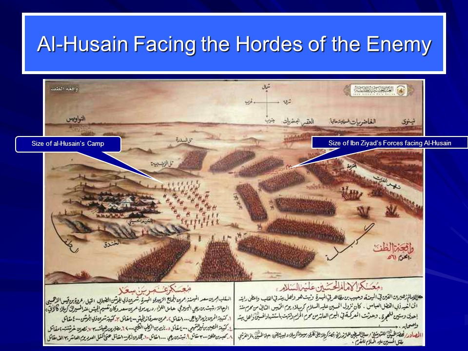 Al-Husain Facing the Hordes of the Enemy Size of Ibn Ziyads Forces facing Al-Husain Size of al-Husains Camp