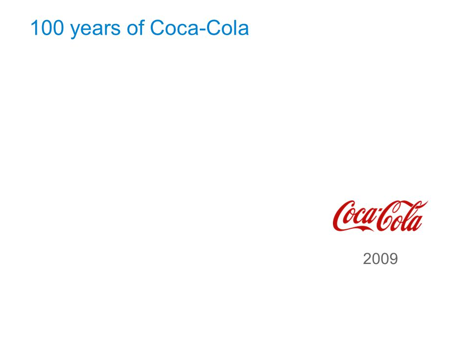 September 17, 2009 100 years of Coca-Cola Page 12 1886190619261946 1966198620062009