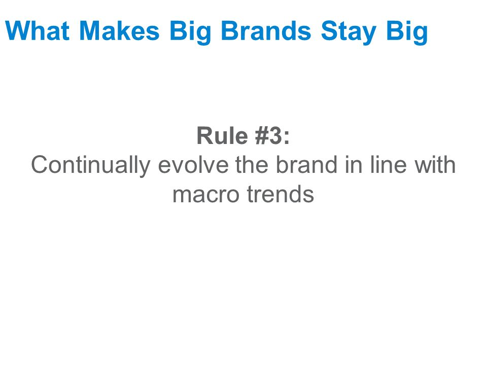 September 17, 2009 What Makes Big Brands Stay Big Rule #3: Continually evolve the brand in line with macro trends