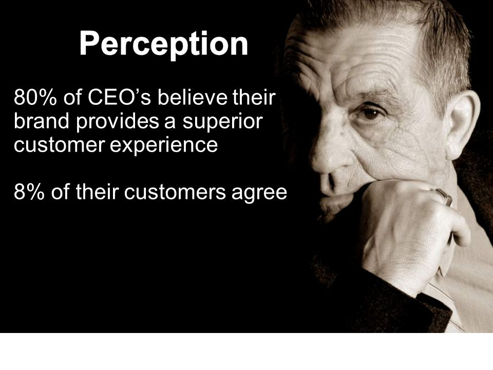 September 17, 2009 80% of CEOs believe their brand provides a superior customer experience 8% of their customers agree Source: Bain & Company