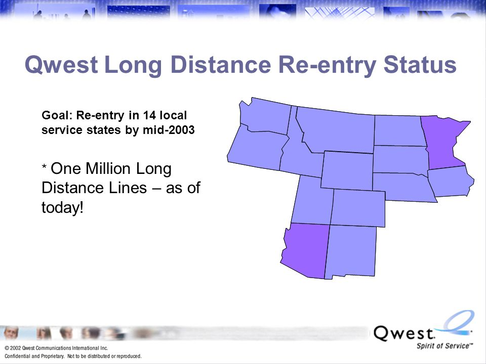 10 Qwest Long Distance Re-entry Status Goal: Re-entry in 14 local service states by mid-2003 * One Million Long Distance Lines – as of today!