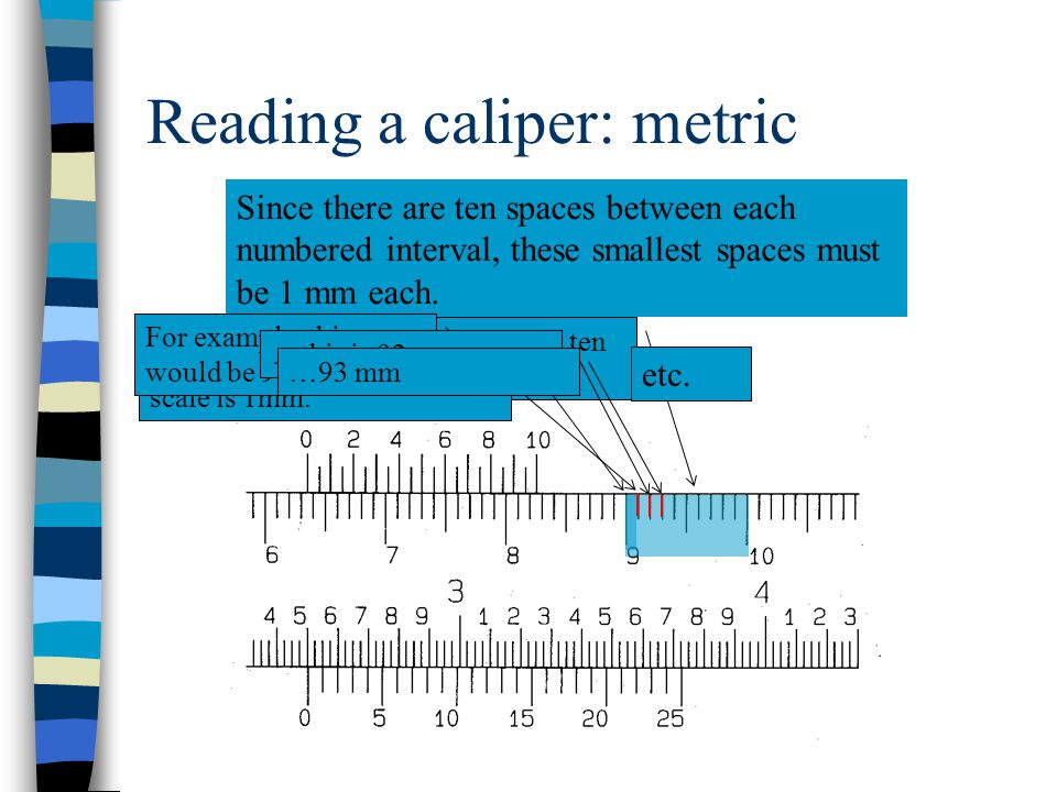 Reading a caliper Just mentally add a 0 (zero) by each centimeter number. 0 60 mm 0 0 00 70 mm 80 mm90 mm100 mm