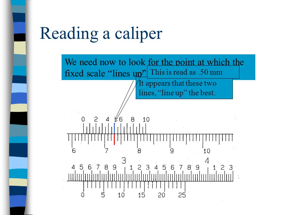 Reading a caliper To finish we must obtain a reading from the metric vernier scale. On this scale, each line represents 0.05 mm..05 mm.10 mm.15 mm.20