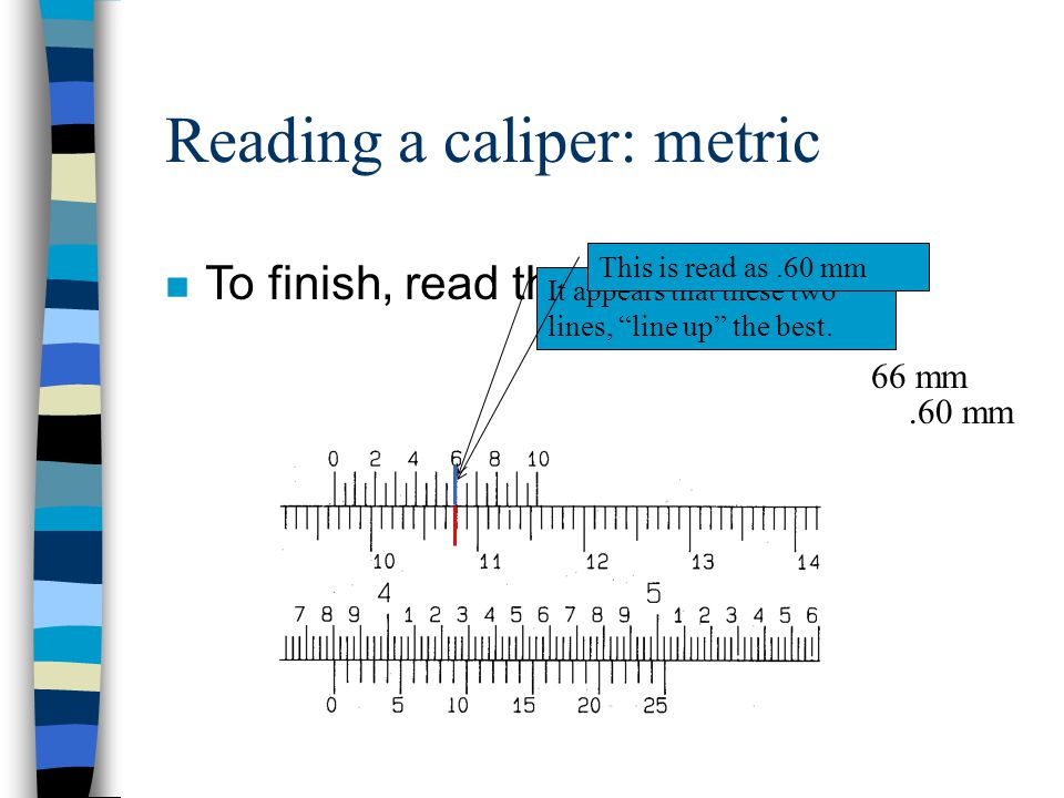 n Start with the fixed scale reading. Remember that we need to read the fixed scale in terms of millimeters. The zero line is close to, but does not q
