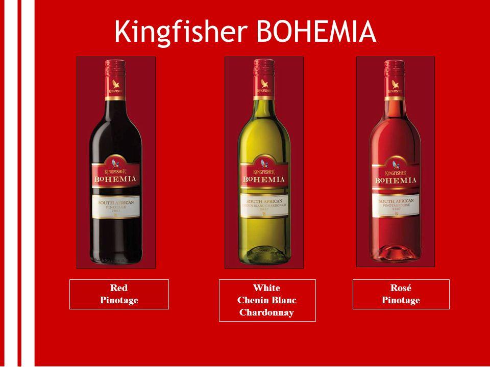 Kingfisher BOHEMIA Red Pinotage White Chenin Blanc Chardonnay Rosé Pinotage